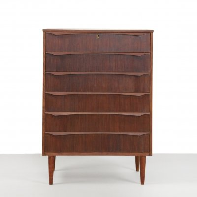 Danish chest of drawers in dark varnished teak, 1960s