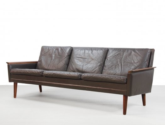 Brown leather Danish design 3seater sofa in rosewood by Vejen Pølstermøbelfabrik