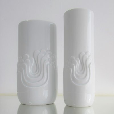 Ceramic Op-art Vases by Tapio Wirkkala for Rosental Thomas, 1960's