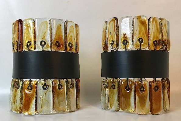 Rare Brutalist Glass Sconces by Felipe Derflingher for Feder's Mexico, 1960s