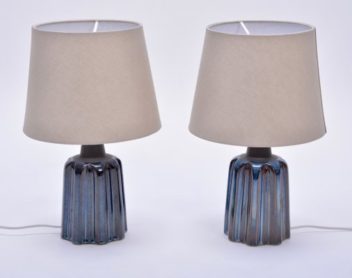Pair of Blue Ceramic Table Lamps by Soholm Stentoj
