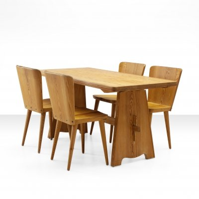 Five-piece pine dining suite by Goran Malmvall, Sweden ca 1950s