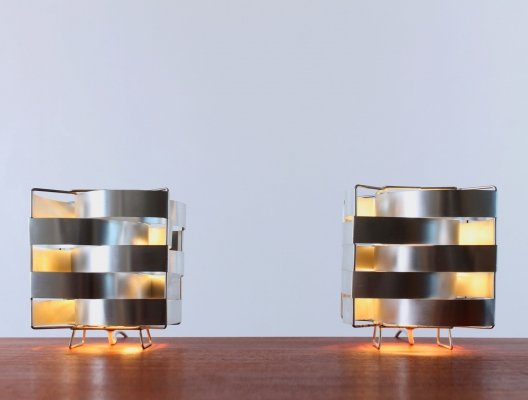 Set of silver color aluminium 'Uranus' table lights by Max Sauze