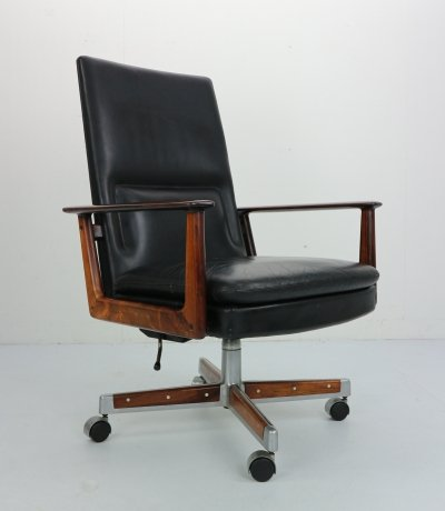 Rosewood & Leather Executive Office Chair by Arne Vodder for Sibast, Denmark 1960s