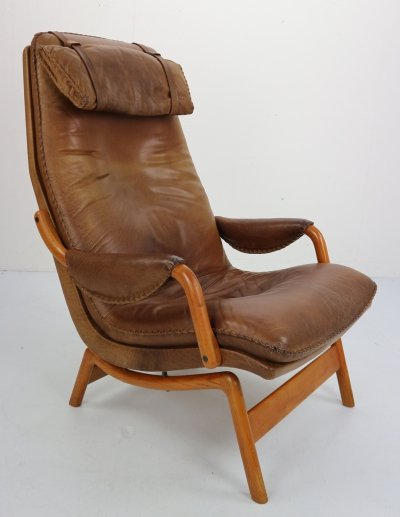 Scandinavian Midcentury Design Brown Leather Lounge Chair, 1960s