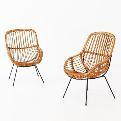 Pair of Italian Rattan, Wicker & Iron Armchairs, 1950s