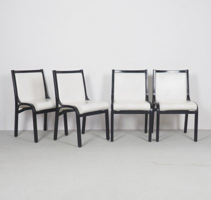 Vintage Cavour white leather dining chairs by Giotto Stoppino for Poltrona Frau