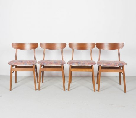 Danish design dinner chairs in teak, 1960's