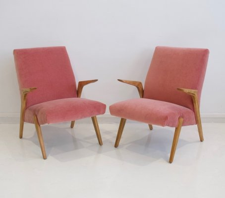 Pair of Pink Velvet Armchairs, 1950s