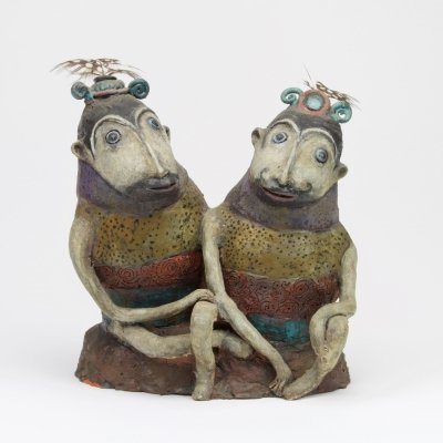 Ceramic sculpture of two fantasy animals by Etie van Rees, ca. 1968