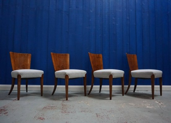Set of 4 Art Deco Dining Chairs H-214 by Jindrich Halabala for Thonet, 1930's