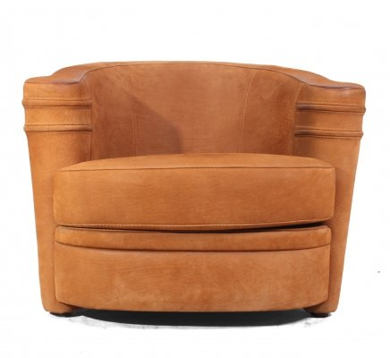 Art Deco Suede Arm Chair by Romeo Paris