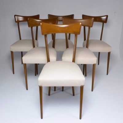 Set of 6 Italian Midcentury Dining Chairs, 1950s