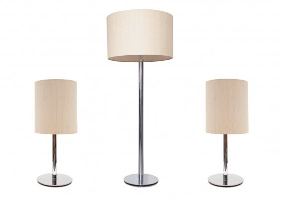 Midcentury Pair of Chrome Table Lamps & Floor lamp by Staff Leuchten, 1960s