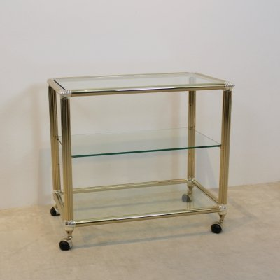 Brass & Glass Bar Cart, Belgium 1970s