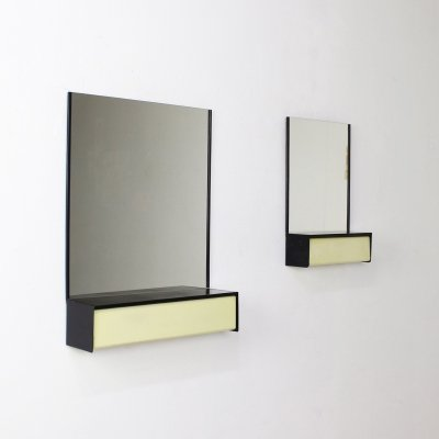 Pair of Dutch design wall mirrors with storage by Brabantia, 1960s