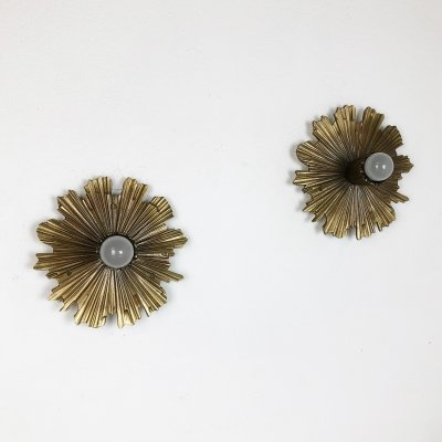 Set of Two Brutalist Brass Metal Sunburst Wall / Ceiling Lights, Italy