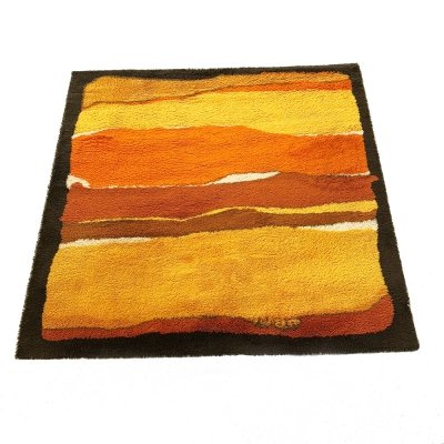 Extra Large Pop Art Vintage 1970s Multi-Color High Pile Cotton Rya Rug by Besmer