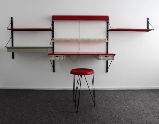 Pilastro Wall Unit & Stool by Tjerk Reijenga, 1960's