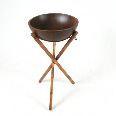 Solid maple wood bowl on tripod, 1960s