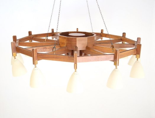 Large 12-light chandelier, 1950s