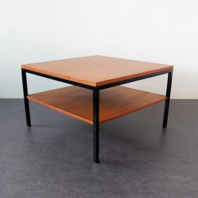 Vintage wood & metal coffee table with extra low shelf