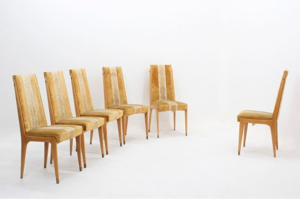 Set of 6 mid century maple blonde wood dining chairs by Dassi