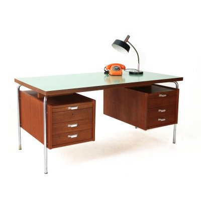 Large Mid-Century Teak Writing Desk with Formica Top