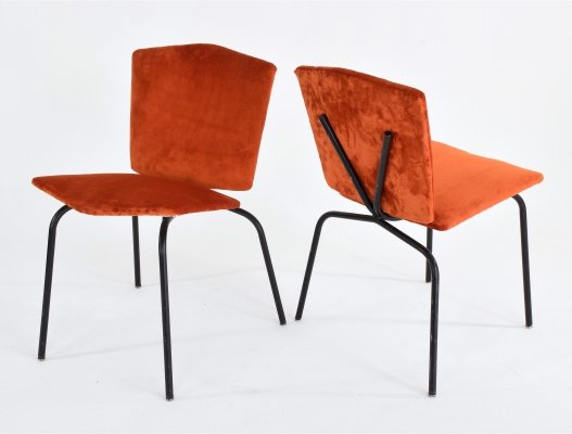 Pair of french vintage orange steel chairs