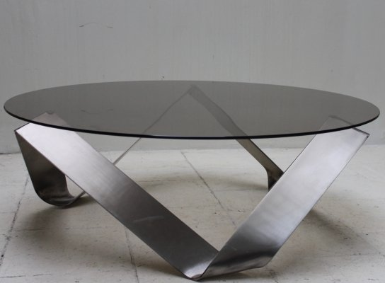 Vintage coffee table in metal & glass