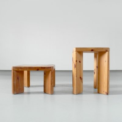 Rare pair of solid pine stools by Roland Wilhelmsson, Sweden 1965 & 1970