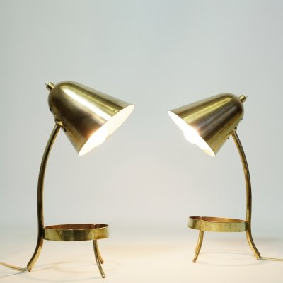 Pair of brass lamps, France 1950s
