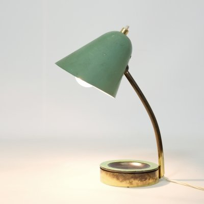 Pale green lamp with a ceramic tray, France 1950's