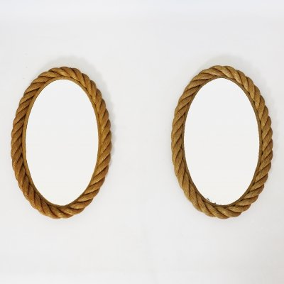 Pair of oval shaped rope mirrors, 1950s