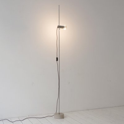 1st edition 'Model 387' nickel plated brass & travertine floor lamp by Tito Agnoli