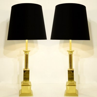 Pair Of Gold Table Lamps, 1970s