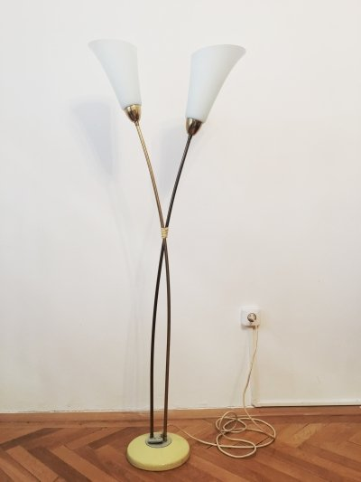 Rare Mid-century White Flower Floor Lamp by Zukov, 1960s