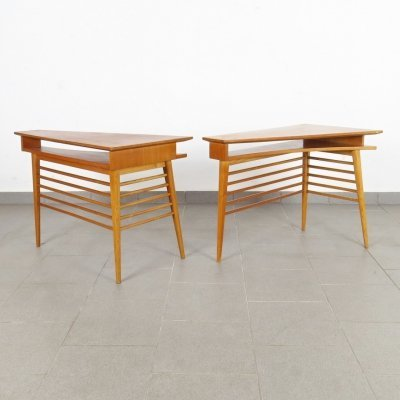 Pair of ÚĽUV Praha side tables, 1960s