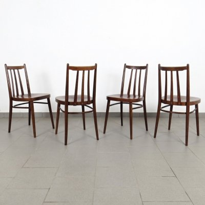 Set of 4 Ton Czechoslovakia dining chairs, 1970s
