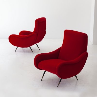 Pair of Italian Modern Red Velvet Armchairs, 1950s