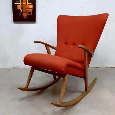 Midcentury Swedish design wingback rocking chair