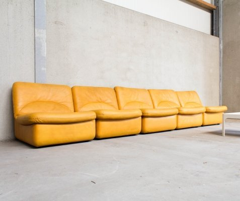 Modular Sofa in Yellow Leather by Dreipunkt