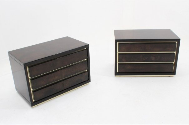 Set of 2 vintage parchement nightstands by Aldo Tura, 1970s
