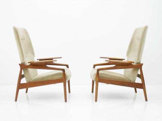 Pair of Reclining Lounge Chairs by John Boné
