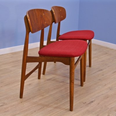 Set of 2 Danish dining chairs in teak & oak, 1960s