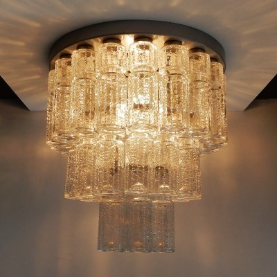 'Lichtval' or 'lightfall' glass flush mount by Raak, 1970's