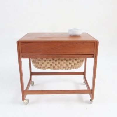 Danish Mid-century teak sewing table on wheels