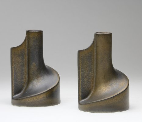 Pair of ceramic candle holders by Jan van der Vaart with bronze glaze, 1981