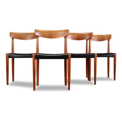 Set of 4 Vintage Danish design Knud Faerch teak dining chairs, 1960s