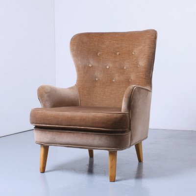Dutch Velvet modernist club chair by Theo Ruth for Artifort